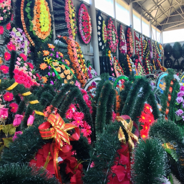 Wreaths store, artificial flowers and trees Exhibition Hall. Ukraine, Lutsk